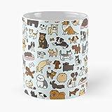 Cute Dog Animals Pugs Corgi Pomeranian Poodle Dachshund Beagle Bobtail Mug - Best 11 Ounce Ceramic Coffee Mug Gift