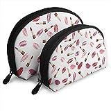 Beauty Theme Pink und Burgund Lippenstift und Kuss WomenTravel Kosmetiktaschen Wasserdichtes...