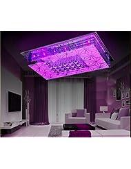 Moderno LED cambio de color cristal lámpara dormitorio comedor living comedor sala cuadrada luz de techo lámpara ajustable de la sala de ideas, , 95*75cm