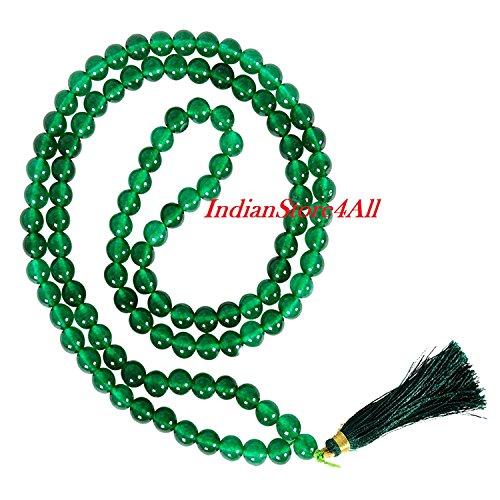 IndianStore4All Green Agate Hakik Japa Mala 108 + 1 Beads 6 mm