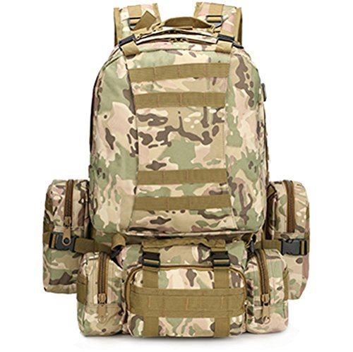 Yisidoo Abnehmbare Militaer Armee US Assault Pack 3D MolleTaktischer Rucksack Multifunktionale Trekkingrucksack fuer Reisen Aussentasche Bergsteigen Taschen Fahrradtaschen Sporttaschen(ACU Camo) CP Camo