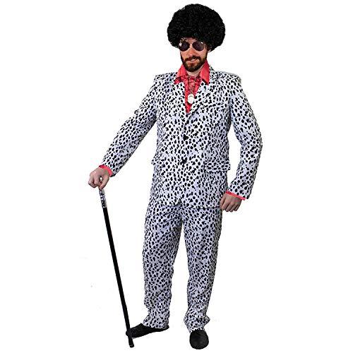 Gruppe Dalmatiner Kostüm - ILOVEFANCYDRESS ZUHÄLTER/Pimp KOSTÜME VERKLEIDUNG 60iger 70s Jahre=Fasching Karneval Disco=ROTES SEIDIGES RÜSCHEN Hemd+PERÜCKE+Medallion+Dalmatiner Look Hosenanzug+AVAIATOR Brille=XXLarge