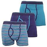 Floso FLOSO® Mens Cotton Mix Key Hole Trunks Underwear (Pack Of 3) (Medium (Waist: 33-35inch, 84-89cm)) (Teal)