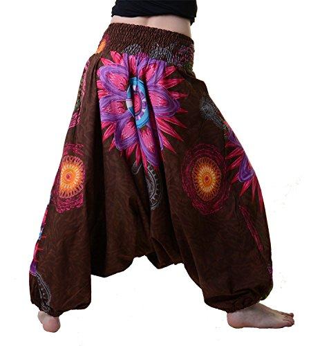 Haremshose mit stylischem Blütenmuster - Damen Hippiehose Braun