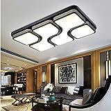 LED de la sala de estar–lámpara de techo rectangular dormitorio lámpara de estudio luz de hierro forjado de iluminación, 880*880LED64W, Two-tone light