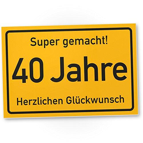 DankeDir! 40 Jahre Stadtschild/Kunststoff Schild - Geschenk 40. Geburtstag, Geschenkidee Geburtstagsgeschenk Vierzigsten, Geburtstagsdeko/Partydeko / Party Zubehör/Geburtstagskarte