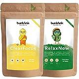 Produkt-Bild: ?Mindfulness Pack? Brain Booster + Entspannungs-Tee für klaren Focus und mehr Gelassenheit, z.B. Ginko + Kurkuma + Moringa, 2x60g Kräutertee aus Deutschland