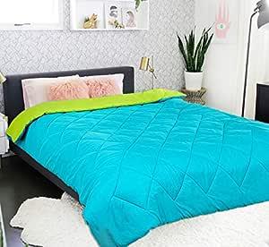 "MR Brothers 250 GSM Microfiber Reversible 5* Star Duvet/Quilt/Blanket/AC Comforter for Double Bed (90""x100"") (Aqua Blue/Olive Green)"