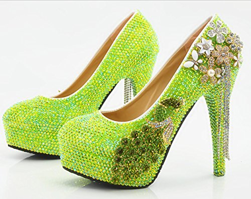 YCMDM Chaussures de mariée à la main en cristal de diamant à la main Phoenix Tassel Stiletto Heel Hig imperméable à l'eau Green
