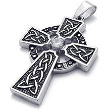 SODIAL Joyeria de acero inoxidable retro celtico nudo Cruz colgante con cadena de 50cm, collar para hombres mujeres, plata negro