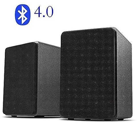 Desktop Stereo Lautsprecher für Handy/PC Bluetooth / USB DAC / AUX Input- (3 Zoll/ Paar Schwarz) (Pc Stereo Lautsprecher)