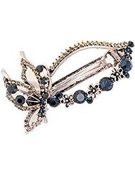 sourcing map Damen Metall Blumen Design Faux Strasssteine Intarsien Frisur Haarspange Blau DE de