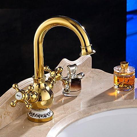 JinRou/moderno lusso contemporaneo rubinetto lavello doppio di rame a doppio bacino di controllo rubinetto acqua calda e fredda wc rubinetto rubinetti di oreficeria