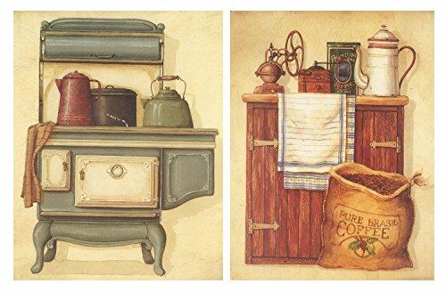 Cuadro Cocina Madera. Set 2 Cuadros 25x19 cm Cada