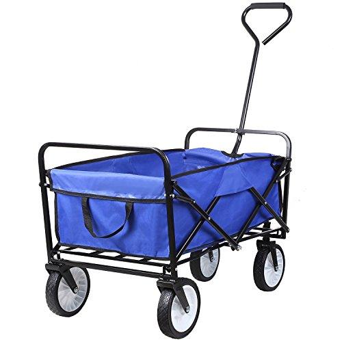 Homfa carretto pieghevole carrello giardino richuidibile a mano telaio ferro rimorchio trasport carico 80kg (blu)