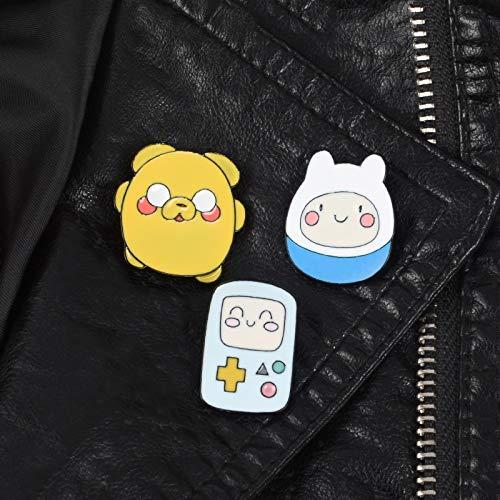LFDHZ 3er Set Cartoon Charakter Emaille Pins Abenteuer Zeit mit Finn und Jake Rucksack Tasche Hut Leder Jacken Mode Accessoire - Jake Abenteuer