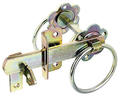 *GAH-Alberts 210250 Gartentorverschluss für hohe Tore oder Flechtzauntüren – galvanisch gelb verzinkt*