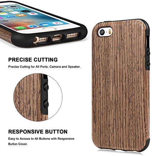 TENDLIN iPhone SE Hülle Holz und Flexiblem TPU Silikon Hybrid Weiche Schutzhülle für iPhone SE 5S 5 (Rotes Sandelholz) Schwarz Palisander