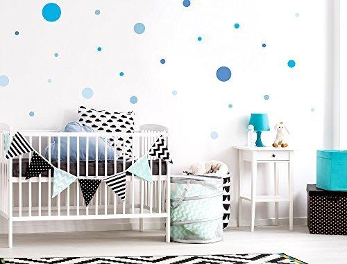 Sticker mural d'enfant autocollants de décoration Cercles bleue pour garçon co
