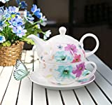 Buchensee Porzellan Tea for one / Tea4one / Teeservice / Teeset 4-teilig 400ml, Fine Bone China, Blumendekor, Original Aricola®