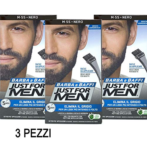 Scopri offerta per 3 X JUST FOR MEN BARBA E BAFFI COLORE TINTURA PERMANENTE CON PENNELLO NERO M 55 GEL COLORANTE 2 X 14g
