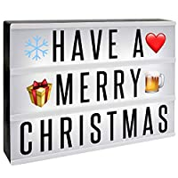 A4 Cinematic Lightbox | Includes 205 Letters & Emoji | Illuminated Light Up Box Sign | Battery or USB Powered | Halloween Decoration | Pukkr