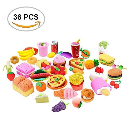 FengNiao 36PCS Bleistift Radiergummis sortiert Set japanischen Stil Obst Kuchen Dessert Essen Puzzle...
