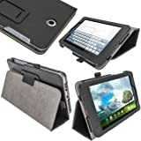 "iGadgitz Premium Black PU Leather Folio Case Cover for Asus FonePad ME371MG 7"" With Multi-Angle Viewing Stand + Stylus Pen Holder + Screen Protector"