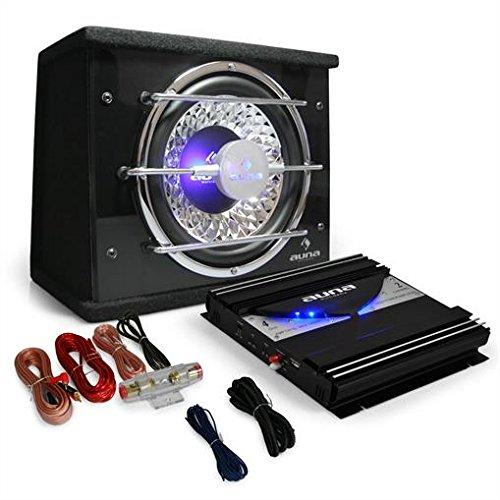 auna Auto HiFi Autoboxen Set Black Line 100 600W 25cm Subwoofer mit Verstärker 1400W Auto Endstufe (inkl Kabel-Set, Woofer mit LED-Lichteffekt & Chrom-Optik)