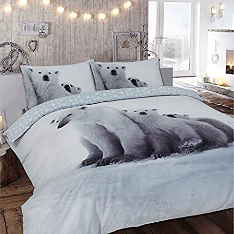 Flannelette 100% Cotton Brushed Duvet Cover Set Animal Print Duvet Cover And Pillow case set (Single, Polar Bear)