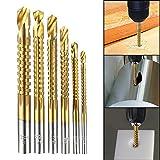 Godbless Bohrer 6 Pcs HSS Fräsbohrer Set Metall Titanbeschichtetes Mini Bohrer Holzbearbeitung Schneiden Cutter 3-8mm