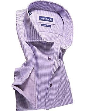 Jacques Britt Herren Hemd Baumwolle & Mix Oberhemd Gemustert, Größe: 42, Farbe: Violett