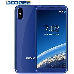Moviles Libres Baratos, DOOGEE X55 Dual SIM Movil Baratos, 3G Android 7.0 Telefonos, 5.5 Pulgadas HD 18:9 Display, MT6580 Quad Core Smartphone, 1GB RAM + 16GB ROM, Cámaras duales dobles de 8MP - Huella digital - Azul