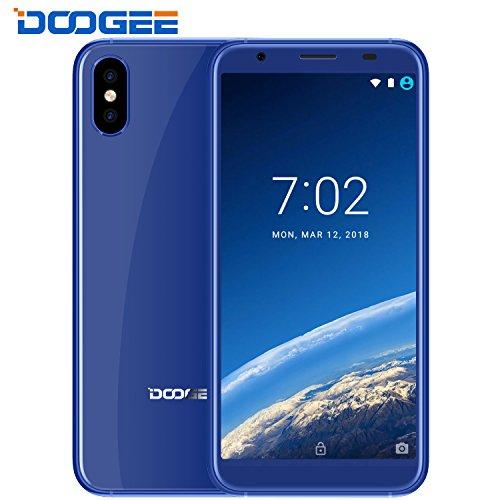 Smartphone ohne Vertrag, DOOGEE X55 Dual SIM Günstig Handy, 3G Android 7.0 Handys, 5.5 Zoll HD 18:9 Seitenverhältnis Display - MT6580 Quad Core - 1GB RAM + 16GB ROM - Dual 8MP Rückseitenkameras - Seitlicher Fingerabdruck entsperren - Blau