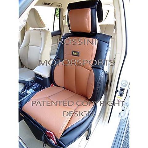 Fundas de asiento de coche Hyundai Accent de YS 09Marrón + Negro Rossini Motorsports PVC polipiel