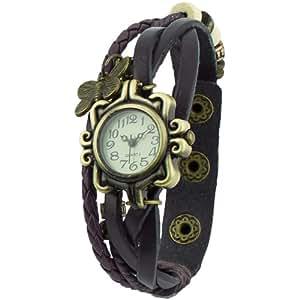 Damen Retro Leder Armbanduhr Schmetterling Quartz Strick Uhr Armreif Armband Braun