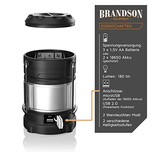 BRANDSON - LED Campinglampe/Laterne Ausziehbar   Powerbank-Funktion   LED Camping-Leuchte   2 Verschiedene Helligkeitsstufen   2 Warnleuchten Lichtmodi   Energieeffizienzklasse A+ - 3