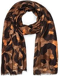 styleBREAKER Châle pour femme avec grand motif léopard et franges, écharpe  d hiver, 3530a6f8603