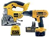 DeWalt 18 Volt Combi Drill With 18 Volt Jigsaw, 2x 18 Volt Batteries 2 AH Ni-Cad, Carry Case