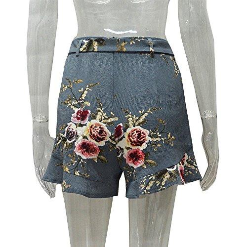 Lotusblatt zum der breiten Beinkurzschlüsse zu besprechen Frauen Reizvoller RockSommer Druck kurze Hosen Kingko Gray