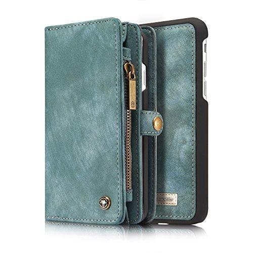Wallet und Geldbörse für Apple iPhone 8 4.7 Zoll - 2in1 Geldbeutel Portmonee Schutzhülle Case Etui Handyhülle Tasche Etui Hülle Blau