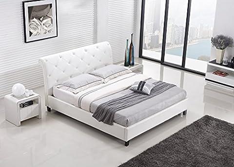 Designer Bett BAROCK MODERN 160x200 cm #78 Doppelbett (160x200 cm, Weiß)