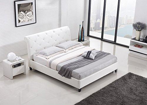 Designer Bett BAROCK MODERN #78 Doppelbett (140cm x 200cm, Weiß)