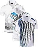 jeansian Herren Men's 3 Mix Packs Sport Quick Dry Short Sleeves Polo T-Shirt Tee LSL195_MixPackG MPackH