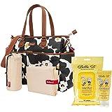 Bundle 3 Items: Babymel Bella Diaper Bag- Black Floral + Bella B Baby Wipes + Silk &Honey Baby Lotion 2 Oz