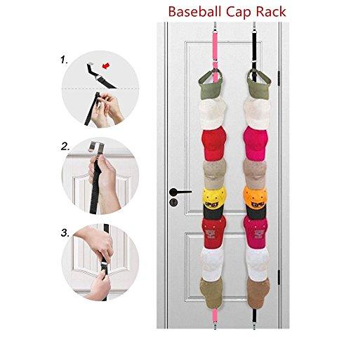 Baseballcap-Gestell-Speicher. Kann für zwei Räume nach der Tür verwendet werden. Hervorragende Ball Cap Rack Lagerung Inhaber Veranstalter Hüte Regal Cap Halter. (Schwarz und Pink) -