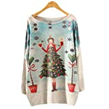 Rawdah_Jersis Women Winter Knitted Sweaters Women Christmas Womens Batwing Long Sleeve Loose Color Knit Knit Jersey Tops Knitwear Woman