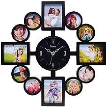 Arpan - Portafoto multiplo con orologio da parete e 12 cornici - Black