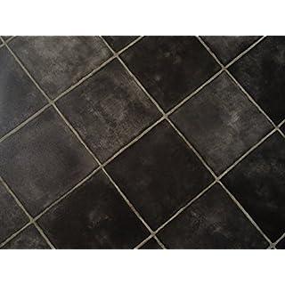 PVC in schwarzer Fliesen-Optik, diagonal, schwarz - von Alpha-Tex 4.95€/m² (Länge: 750 cm, Breite: 400cm)