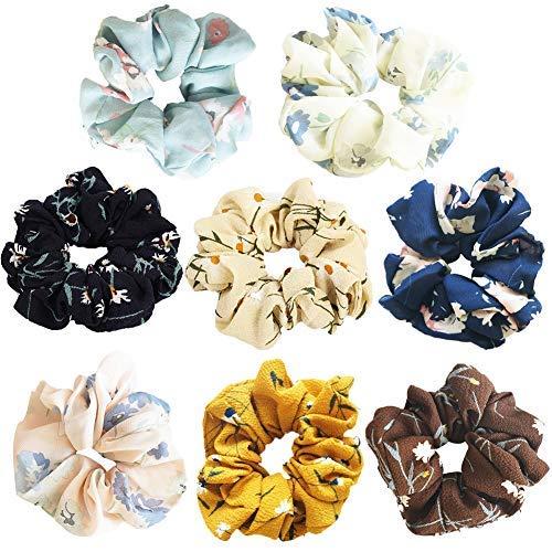 Haargummis, 8 Stück, elastisch, für Mädchen und Frauen, Haarschleife, Chiffon, Pferdeschwanz-Halter, Haargummis, weiche Haarbänder
